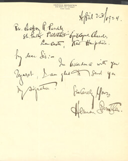HERMAN BERNSTEIN - AUTOGRAPH LETTER SIGNED 04/23/1924