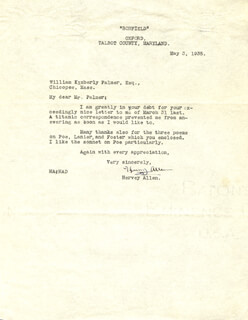 Autographs: HERVEY ALLEN - TYPED LETTER SIGNED 05/03/1935