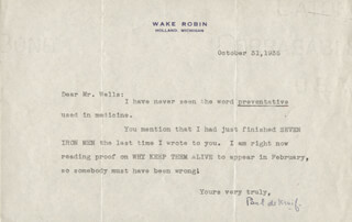 PAUL DE KRUIF - TYPED LETTER SIGNED 10/31/1935