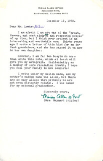 MIRIAM ALLEN de FORD - TYPED LETTER SIGNED 12/12/1972