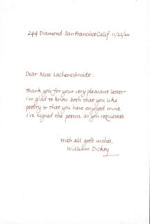 WILLIAM DICKEY - AUTOGRAPH LETTER SIGNED 11/22/1966