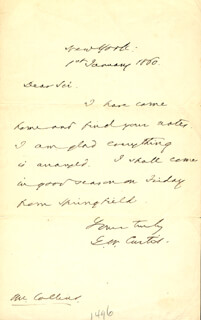 GEORGE WILLIAM CURTIS - AUTOGRAPH LETTER SIGNED 01/01/1860