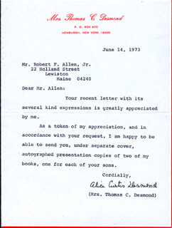 ALICE CURTIS DESMOND - TYPED LETTER SIGNED 06/04/1973