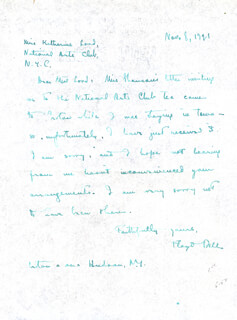 FLOYD DELL - AUTOGRAPH LETTER SIGNED 11/08/1921