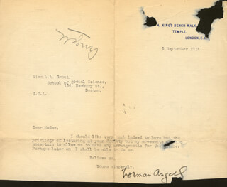 SIR NORMAN ANGELL - TYPED LETTER SIGNED 09/05/1914