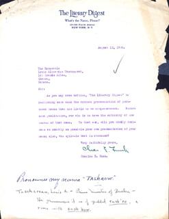 CHARLES E. FUNK - TYPED LETTER SIGNED 08/12/1935 CO-SIGNED BY: PREMIER LOUIS ALEXANDRE TASCHEREAU (CANADA)