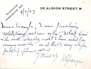 WALTER LIONEL GEORGE - AUTOGRAPH LETTER SIGNED 09/02/1923