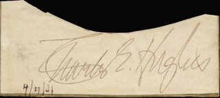 CHIEF JUSTICE CHARLES E HUGHES - AUTOGRAPH