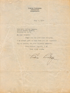 PRESIDENT CALVIN COOLIDGE - TYPED LETTER SIGNED 07/02/1930