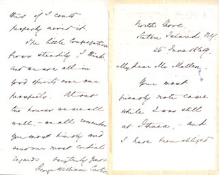 GEORGE WILLIAM CURTIS - AUTOGRAPH LETTER SIGNED 06/26/1869