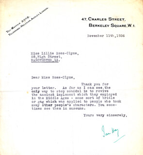 JOHN HAY (IAN HAY) BEITH - TYPED LETTER SIGNED 11/11/1936