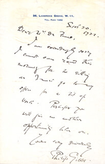 PHILIP GIBBS - AUTOGRAPH LETTER SIGNED 09/20/1921
