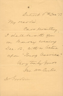 GEORGE WILLIAM CURTIS - AUTOGRAPH LETTER SIGNED 12/06/1853