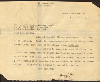 Autographs: HERVEY ALLEN - TYPED LETTER SIGNED 10/26/1923