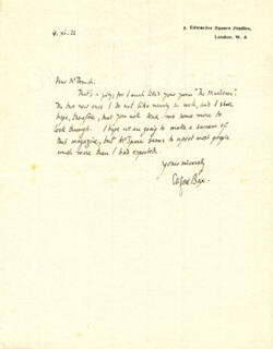 CLIFFORD BAX - AUTOGRAPH LETTER SIGNED 11/04/1922