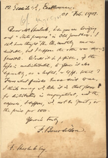 FRANCIS WILLIAM BOURDILLON - AUTOGRAPH LETTER SIGNED 02/21/1907