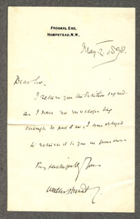 SIR WALTER BESANT - AUTOGRAPH LETTER SIGNED 05/02/1890