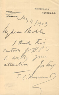SIR FRANCIS C. BURNAND - AUTOGRAPH LETTER SIGNED 07/11/1903