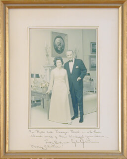 PRESIDENT LYNDON B. JOHNSON - INSCRIBED PHOTOGRAPH MOUNT SIGNED CIRCA 1968 CO-SIGNED BY: FIRST LADY LADY BIRD JOHNSON