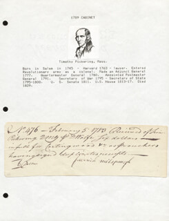 GENERAL TIMOTHY PICKERING - AUTOGRAPH DOCUMENT SIGNED IN TEXT 02/05/1783