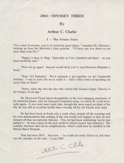 Autographs: SIR ARTHUR C. CLARKE - TYPESCRIPT SIGNED