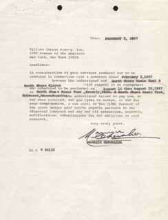 MAURICE CHEVALIER - CONTRACT SIGNED 02/02/1967