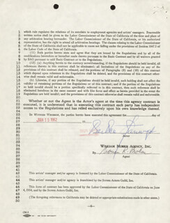BARBARA STANWYCK - CONTRACT SIGNED 01/15/1962
