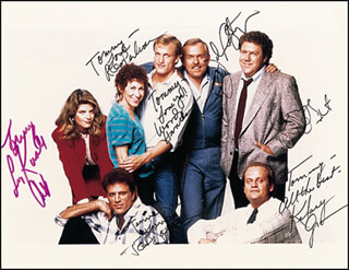CHEERS TV CAST - AUTOGRAPHED INSCRIBED PHOTOGRAPH CO-SIGNED BY: JOHN RATZENBERGER, TED DANSON, WOODY HARRELSON, RHEA PERLMAN, KELSEY GRAMMER, KIRSTIE ALLEY, GEORGE WENDT
