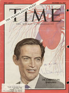 Autographs: CHRISTIAAN BARNARD - MAGAZINE COVER SIGNED 03/22/1968