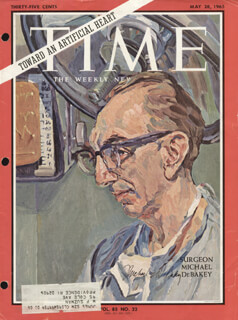 Autographs: DR. MICHAEL E. DEBAKEY - MAGAZINE COVER SIGNED