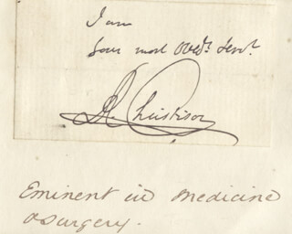 SIR ROBERT CHRISTISON - AUTOGRAPH SENTIMENT SIGNED