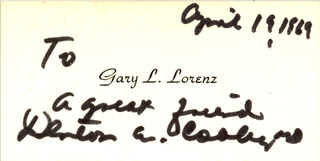 Autographs: DR. DENTON A. COOLEY - CALLING CARD SIGNED 04/19/1969