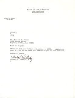 DR. MICHAEL E. DEBAKEY - TYPED LETTER SIGNED 01/08/1974