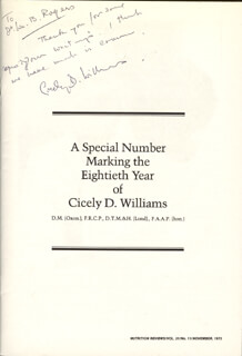 Autographs: CICELY D. WILLIAMS - INSCRIBED MAGAZINE SIGNED