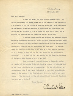 CHARLES W. ELIOT - TYPED LETTER SIGNED 11/18/1924