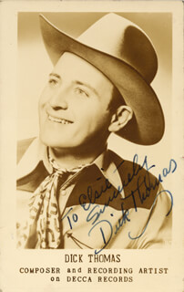DICK THOMAS - INSCRIBED PICTURE POSTCARD SIGNED