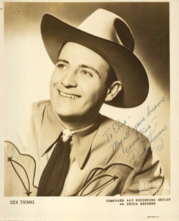 DICK THOMAS - AUTOGRAPHED INSCRIBED PHOTOGRAPH