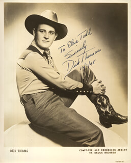 DICK THOMAS - AUTOGRAPHED INSCRIBED PHOTOGRAPH 12/07/1948