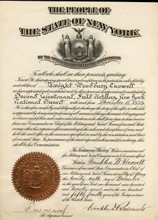 PRESIDENT FRANKLIN D. ROOSEVELT - MILITARY APPOINTMENT SIGNED 12/26/1929 CO-SIGNED BY: F. W. WARD