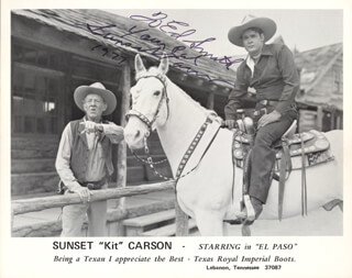 SUNSET CARSON - AUTOGRAPHED INSCRIBED PHOTOGRAPH 1977