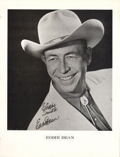 EDDIE DEAN - INSCRIBED PRINTED PHOTOGRAPH SIGNED IN INK
