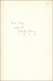 CARL SANDBURG - INSCRIBED BOOK SIGNED 1955