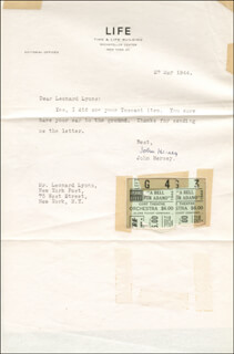 JOHN HERSEY - TYPED LETTER SIGNED 05/27/1944