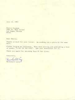 MACDONALD CAREY - TYPED LETTER SIGNED 07/12/1983