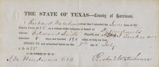 Autographs: GENERAL RICHARD WATERHOUSE JR. - DOCUMENT SIGNED 07/07/1855