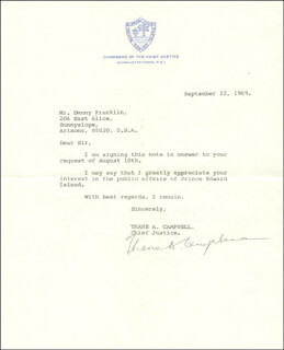 PREMIER THANE CAMPBELL (CANADA) - TYPED LETTER SIGNED 09/22/1969