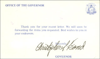 Autographs: GOVERNOR CHRISTOPHER S. BOND - POST CARD SIGNED