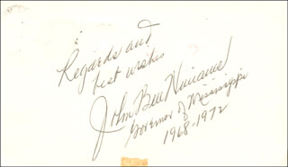 Autographs: GOVERNOR JOHN BELL WILLIAMS - SIGNATURE(S)