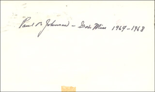 GOVERNOR PAUL B. JOHNSON JR. - POST CARD SIGNED CIRCA 1971
