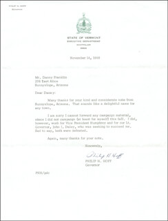 GOVERNOR PHILIP H. HOFF - TYPED LETTER SIGNED 11/14/1968